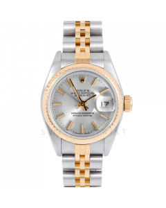 Rolex Datejust 69173 Silver Stick Dial 18k Yellow Gold & Stainless Steel - Fluted Bezel On A Jubilee Band - Ladies Pre-Owned Watch