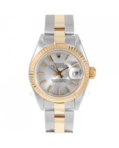 Rolex Datejust 69173 Silver Stick Dial 18k Yellow Gold & Stainless Steel - Fluted Bezel On A Oyster Band -Ladies  Pre-Owned Watch