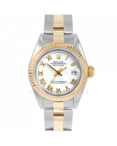 Rolex Datejust 69173 White Roman Dial 18k Yellow Gold & Stainless Steel - Fluted Bezel On A Oyster Band - Ladies Pre-Owned Watch