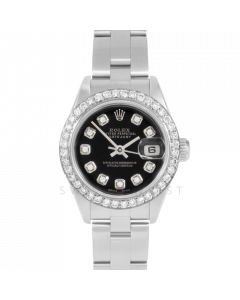 Rolex Datejust 69174 Custom Black Diamond Dial - Stainless Steel - 1CT VS Diamond Bezel On A Oyster Band - Ladies Pre-Owned Watch
