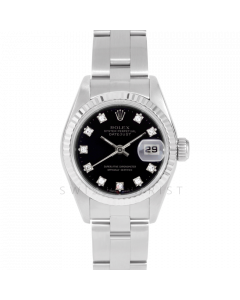 Rolex Datejust 69174 Factory Black Diamond Dial - Stainless Steel - White Gold Fluted Bezel On A Oyster Band - Ladies Pre-Owned Watch