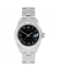 Rolex Datejust 69174 Black Roman Dial - Stainless Steel - White Gold Fluted Bezel On A Oyster Band - Ladies Pre-Owned Watch