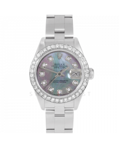 Rolex Datejust 69174 Custom Black Mother Of Pearl Diamond Dial - Stainless Steel - 1CT VS Diamond Bezel On A Oyster Band - Ladies Pre-Owned Watch