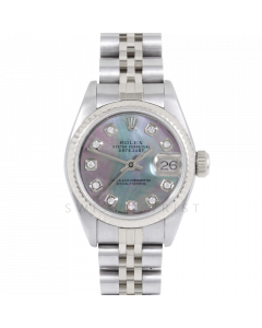 Rolex Datejust 69174 Custom Black Mother Of Pearl Diamond Dial - Stainless Steel - Fluted Bezel On A Jubilee Band - Ladies Pre-Owned Watch