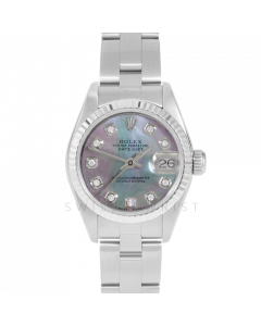 Rolex Datejust 69174 Custom Black Mother Of Pearl Diamond Dial - Stainless Steel - Fluted Bezel On A Oyster Band - Ladies Pre-Owned Watch
