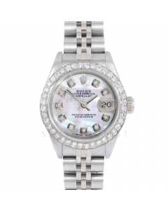 Rolex Datejust 69174 Custom Mother of Pearl Diamond Dial - Stainless Steel - 1CT VS Diamond Bezel On A Jubilee Band - Ladies Pre-Owned Watch