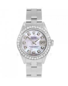 Rolex Datejust 69174 Custom Mother Of Pearl Diamond Dial - Stainless Steel - 1CT VS Diamond Bezel On A Oyster Band - Ladies Pre-Owned Watch