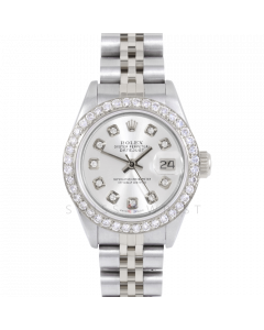 Rolex Datejust 69174 Custom Silver Diamond Dial - Stainless Steel - 1CT VS Diamond Bezel On A Jubilee Band - Ladies Pre-Owned Watch
