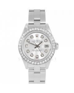 Rolex Datejust 69174 Custom Silver Diamond Dial - Stainless Steel -1CT VS Diamond Bezel On A Oyster Band - Ladies Pre-Owned Watch