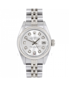 Rolex Datejust 69174 Custom Silver Diamond Dial - Stainless Steel - White Gold Fluted Bezel On A Jubilee Band - Ladies Pre-Owned Watch