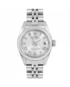 Rolex Datejust 69174 Silver Roman Dial - Stainless Steel - White Gold Fluted Bezel On A Jubilee Band - Ladies Pre-Owned Watch