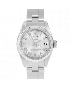 Rolex Datejust 69174 Silver Roman Dial - Stainless Steel - White Gold Fluted Bezel On A Oyster Band - Ladies Pre-Owned Watch