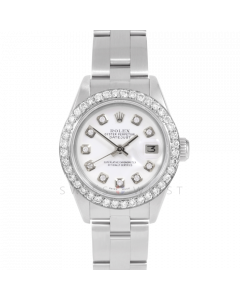 Rolex Datejust 69174 Custom White Diamond Dial - Stainless Steel - 1CT VS Diamond Bezel On A Oyster Band - Ladies Pre-Owned Watch