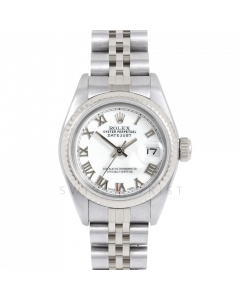 Rolex Datejust 69174 White Roman Dial - Stainless Steel - White Gold Fluted Bezel On A Jubilee Band - Ladies Pre-Owned Watch