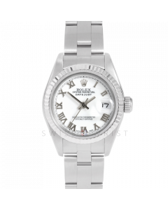 Rolex Datejust 69174 White Roman Dial - Stainless Steel - White Gold Fluted Bezel On A Oyster Band - Ladies Pre-Owned Watch