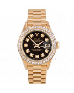 Rolex Datejust 26 69178 Yellow Gold President, Custom Black Diamond Dial, 1ct Diamond Bezel On Presidential Bracelet, Ladies Pre-Owned Watch