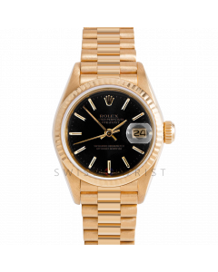 Rolex Datejust 26 69178 Yellow Gold Presidential, Black Stick Dial, Fluted Bezel On Presidential Bracelet, Ladies Pre-Owned Watch