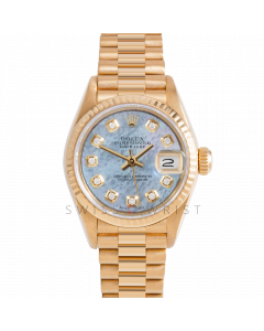 Rolex Datejust 26 69178 Yellow Gold President, Custom Blue MOP Diamond Dial, Fluted Bezel On Presidential Bracelet, Ladies Pre-Owned Watch