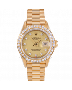 Rolex Datejust 26 69178 Yellow Gold President, Factory Champagne Diamond Dial, Custom 1ct Diamond Bezel On Presidential Bracelet, Ladies Pre-Owned Watch