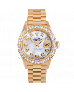 Rolex Datejust 26 69178 Yellow Gold President, Custom MOP Diamond Dial, 1ct Diamond Bezel On Presidential Bracelet, Ladies Pre-Owned Watch