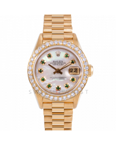 Rolex Datejust 26 69178 Yellow Gold President, Custom MOP Emerald Dial, 1ct Diamond Bezel On Presidential Bracelet, Ladies Pre-Owned Watch