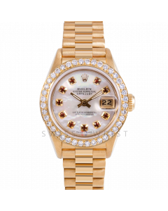 Rolex Datejust 26 69178 Yellow Gold President, Custom MOP Ruby Dial, 1ct Diamond Bezel On Presidential Bracelet, Ladies Pre-Owned Watch