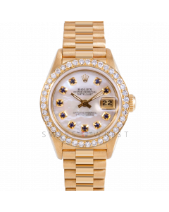 Rolex Datejust 26 69178 Yellow Gold President, Custom MOP Sapphire Dial, 1ct Diamond Bezel on Presidential Bracelet, Ladies Pre-Owned Watch