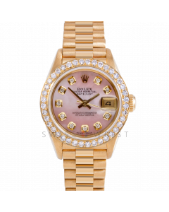 Rolex Datejust 26 69178 Yellow Gold President, Custom Pink MOP Diamond Dial, 1ct Diamond Bezel On Presidential Bracelet, Ladies Pre-Owned Watch