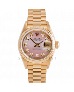 Rolex Datejust 26 69178 Yellow Gold President, Custom Pink MOP Diamond Dial, Fluted Bezel On Presidential Bracelet, Ladies Pre-Owned Watch
