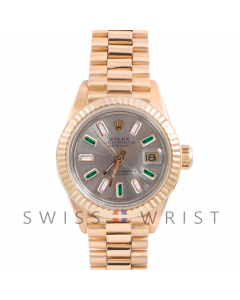 Rolex President 6917 Custom Silver Alternating Baguette Diamond and Emerald Dial - Yellow Gold - Fluted Bezel On A President Bracelet - Pre-Owned