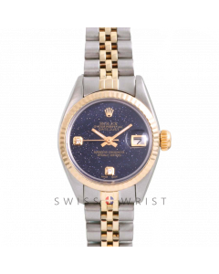 Rolex Datejust 26 Yellow Gold & Steel, Custom Blue Aventurine 2 Stone Diamond Dial, Fluted Bezel On A Jubilee Bracelet - Women's Pre-Owned Watch