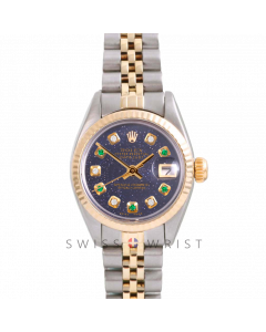 Rolex Datejust 26 Yellow Gold & Steel, Custom Blue Aventurine Alternating Emerald Diamond Dial, Fluted Bezel On A Jubilee Bracelet - Women's Pre-Owned Watch