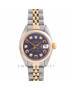 Rolex Datejust 26 Yellow Gold & Steel, Custom Blue Aventurine Alternating Ruby Diamond Dial, Fluted Bezel On A Jubilee Bracelet - Women's Pre-Owned Watch