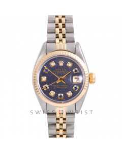 Rolex Datejust 26 Yellow Gold & Steel, Custom Blue Aventurine Alternating Sapphire Diamond Dial, Fluted Bezel On A Jubilee Bracelet - Women's Pre-Owned Watch