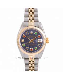 Rolex Datejust 26 Yellow Gold & Steel, Custom Blue Aventurine Rainbow Dial, Fluted Bezel On A Jubilee Bracelet - Women's Pre-Owned Watch