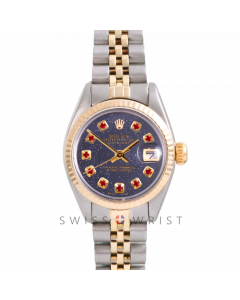 Rolex Datejust 26 Yellow Gold & Steel, Custom Blue Aventurine Ruby Dial, Fluted Bezel On A Jubilee Bracelet - Women's Pre-Owned Watch