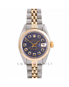 Rolex Datejust 26 Yellow Gold & Steel, Custom Blue Aventurine Sapphire Dial, Fluted Bezel On A Jubilee Bracelet - Women's Pre-Owned Watch