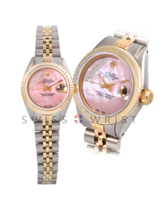Rolex Datejust 26 Yellow Gold & Steel, Custom Pink Mother Of Pearl Gift Wrap String Diamond Dial, Fluted Bezel On A Jubilee Bracelet - Women's Pre-Owned Watch