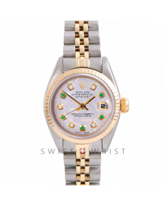 Rolex Datejust 26 Yellow Gold & Steel, Custom White Opal Alternating Diamond and Emerald Dial, Fluted Bezel On A Jubilee Bracelet - Women's Pre-Owned Watch