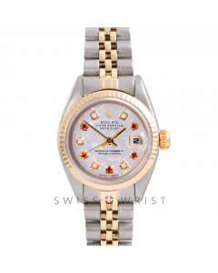 Rolex Datejust 26 Yellow Gold & Steel, Custom White Opal Alternating Diamond and Ruby Dial, Fluted Bezel On A Jubilee Bracelet - Women's Pre-Owned Watch