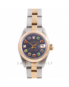 Rolex Datejust 26 Yellow Gold & Steel, Custom Blue Aventurine Rainbow Dial, Fluted Bezel On A Oyster Bracelet - Women's Pre-Owned Watch