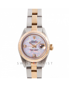 Rolex Datejust 26 Yellow Gold & Steel, Custom White Opal 2 Stone Diamond Dial, Fluted Bezel On A Oyster Bracelet - Women's Pre-Owned Watch