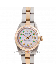 Rolex Datejust 26 Yellow Gold & Steel, Custom White Opal Emerald Dial, Fluted Bezel On A Oyster Bracelet - Women's Pre-Owned Watch