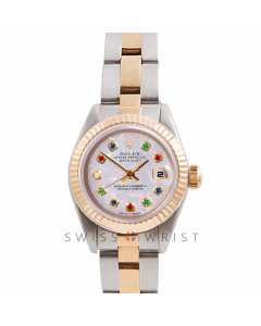 Rolex Datejust 26 Yellow Gold & Steel, Custom White Opal Rainbow Dial, Fluted Bezel On A Oyster Bracelet - Women's Pre-Owned Watch