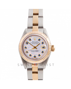 Rolex Datejust 26 Yellow Gold & Steel, Custom White Opal Sapphire Dial, Fluted Bezel On A Oyster Bracelet - Women's Pre-Owned Watch