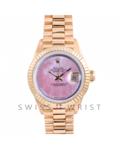 Rolex President 6917 Custom Pink Mother of Pearl Dial - Yellow Gold - Fluted Bezel On A President Bracelet - Pre-Owned