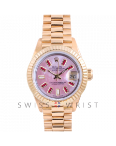Rolex President 6917 Custom Pink Mother of Pearl 8+2 Baguette Ruby and Diamond Dial - Yellow Gold - Fluted Bezel On A President Bracelet - Pre-Owned