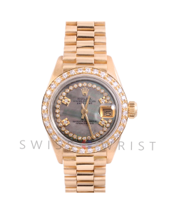 Rolex President 6917 Custom Tahitian Mother of Pearl 4 Stone String Diamond Dial - Yellow Gold - Diamond Bezel On A President Bracelet - Ladies Pre-Owned Watch