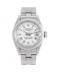 Rolex 69240 Ladies 26mm Stainless Steel w/ White Roman Dial and Engine Turned Bezel with Oyster Bracelet - Pre-Owned